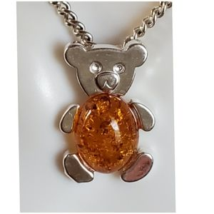 Jewelry - Genuine Baltic Amber Teddy Bear Pendant/Necklace
